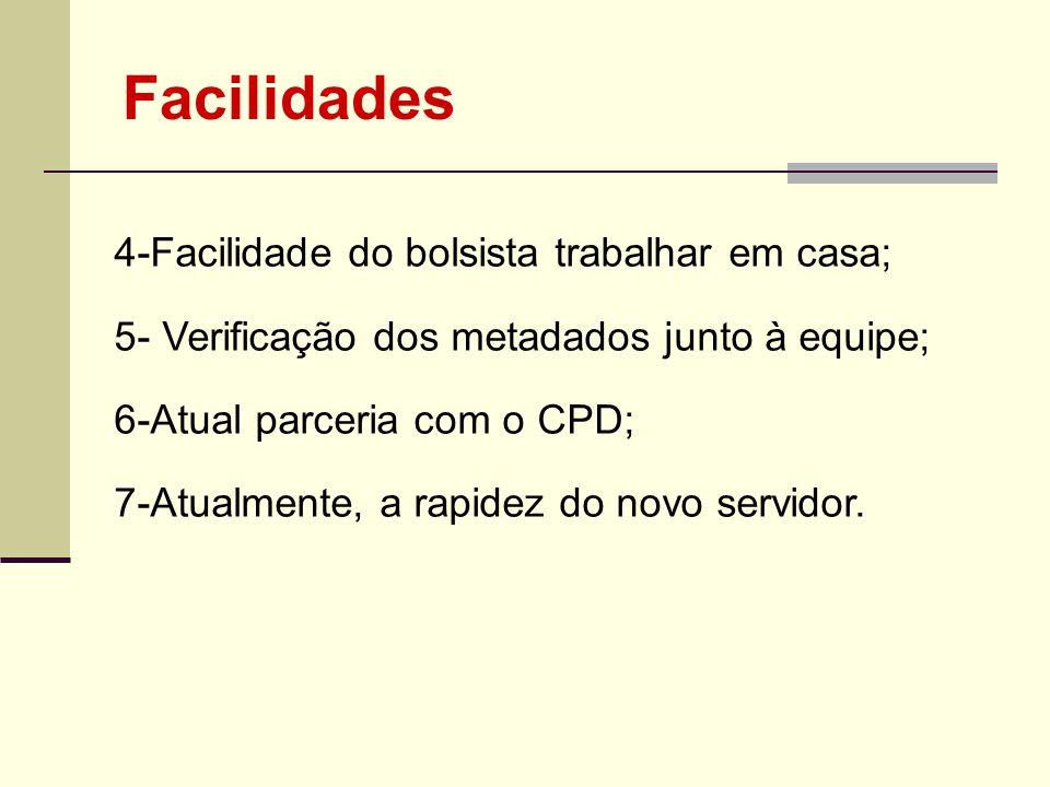 Facilidades 4-Facilidade do bolsista trabalhar em casa;