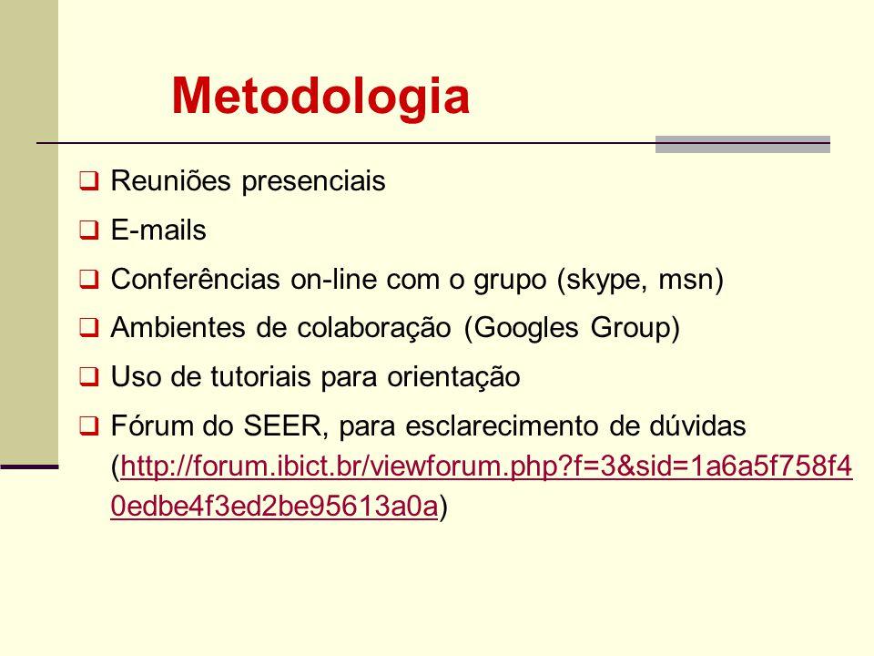 Metodologia Reuniões presenciais E-mails