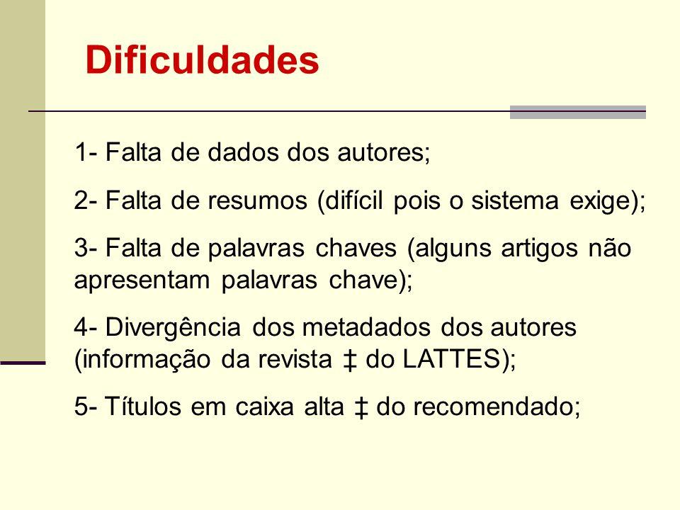 Dificuldades 1- Falta de dados dos autores;