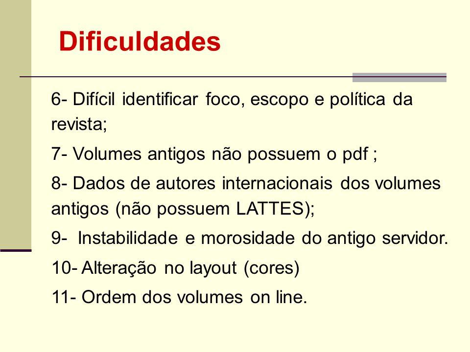 Dificuldades 6- Difícil identificar foco, escopo e política da revista; 7- Volumes antigos não possuem o pdf ;