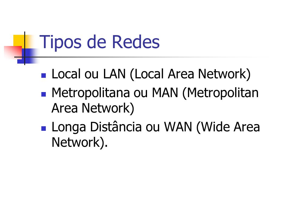 Tipos de Redes Local ou LAN (Local Area Network)
