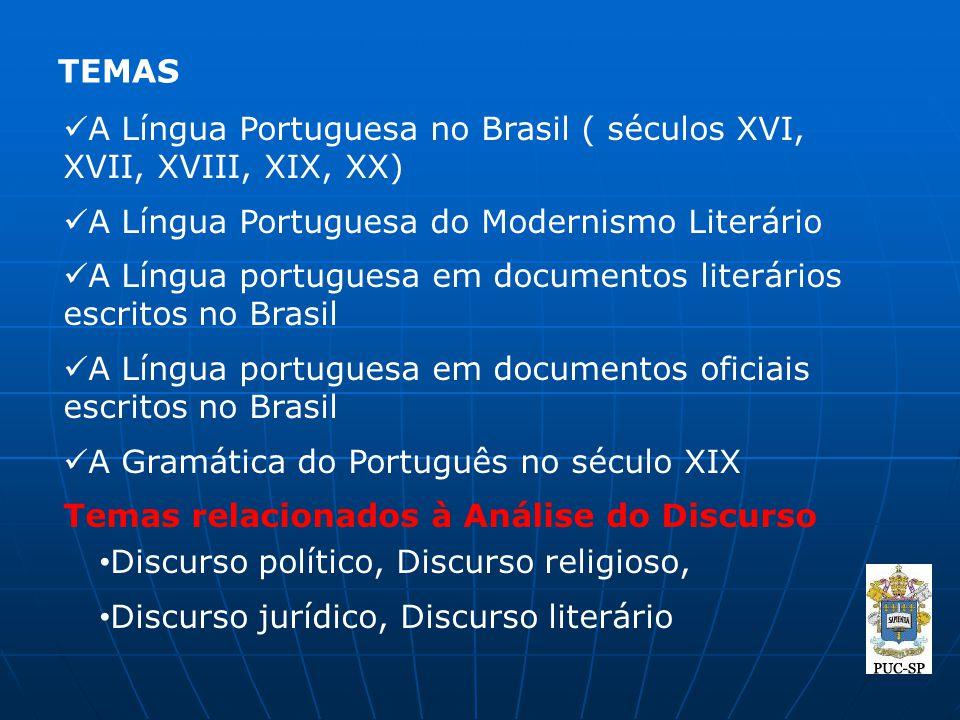 TEMAS A Língua Portuguesa no Brasil ( séculos XVI, XVII, XVIII, XIX, XX) A Língua Portuguesa do Modernismo Literário.