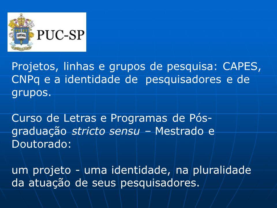 Projetos, linhas e grupos de pesquisa: CAPES, CNPq e a identidade de pesquisadores e de grupos. Curso de Letras e Programas de Pós-graduação stricto sensu – Mestrado e Doutorado: um projeto - uma identidade, na pluralidade da atuação de seus pesquisadores.