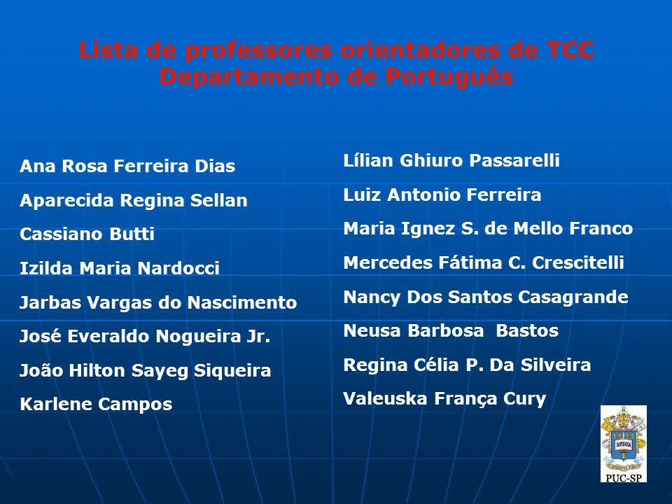 Lista de professores orientadores de TCC Departamento de Português