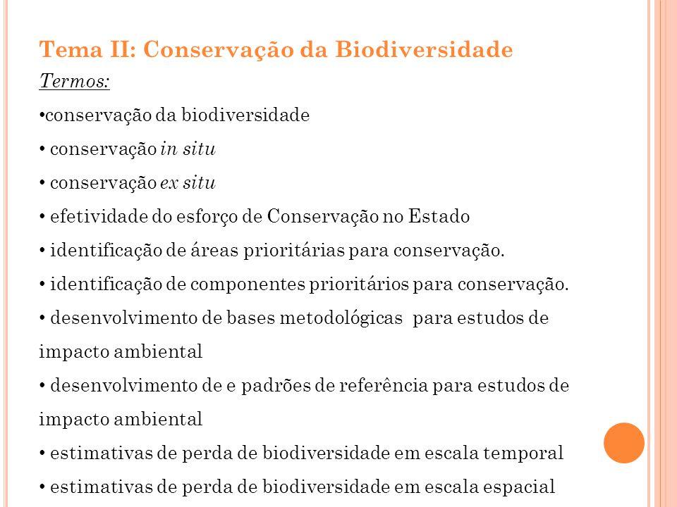 Tema II: Conservação da Biodiversidade