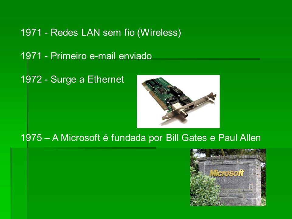 1971 - Redes LAN sem fio (Wireless)