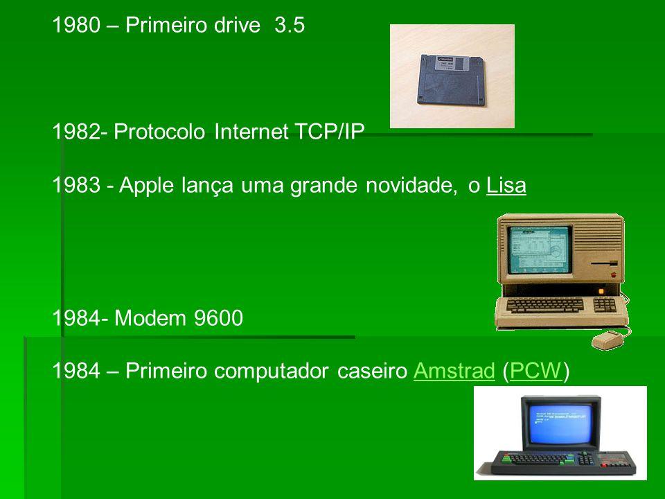 1980 – Primeiro drive 3.5 - Protocolo Internet TCP/IP. - Apple lança uma grande novidade, o Lisa.