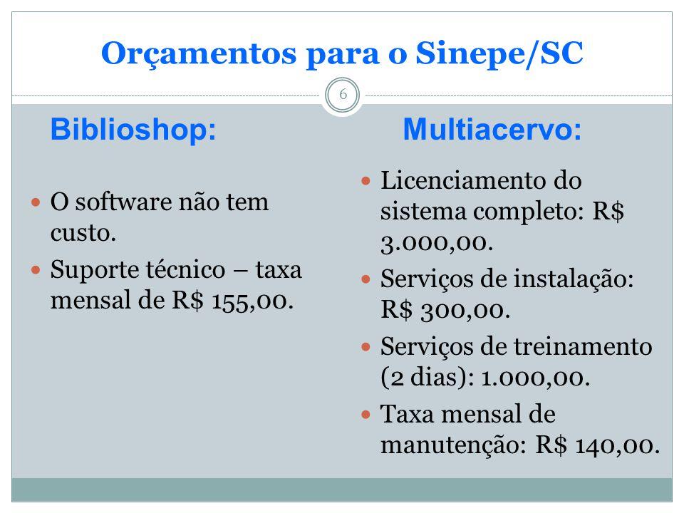 Orçamentos para o Sinepe/SC