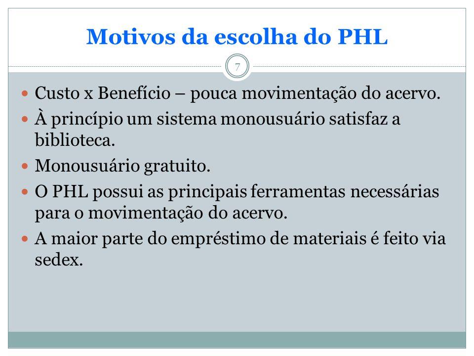 Motivos da escolha do PHL