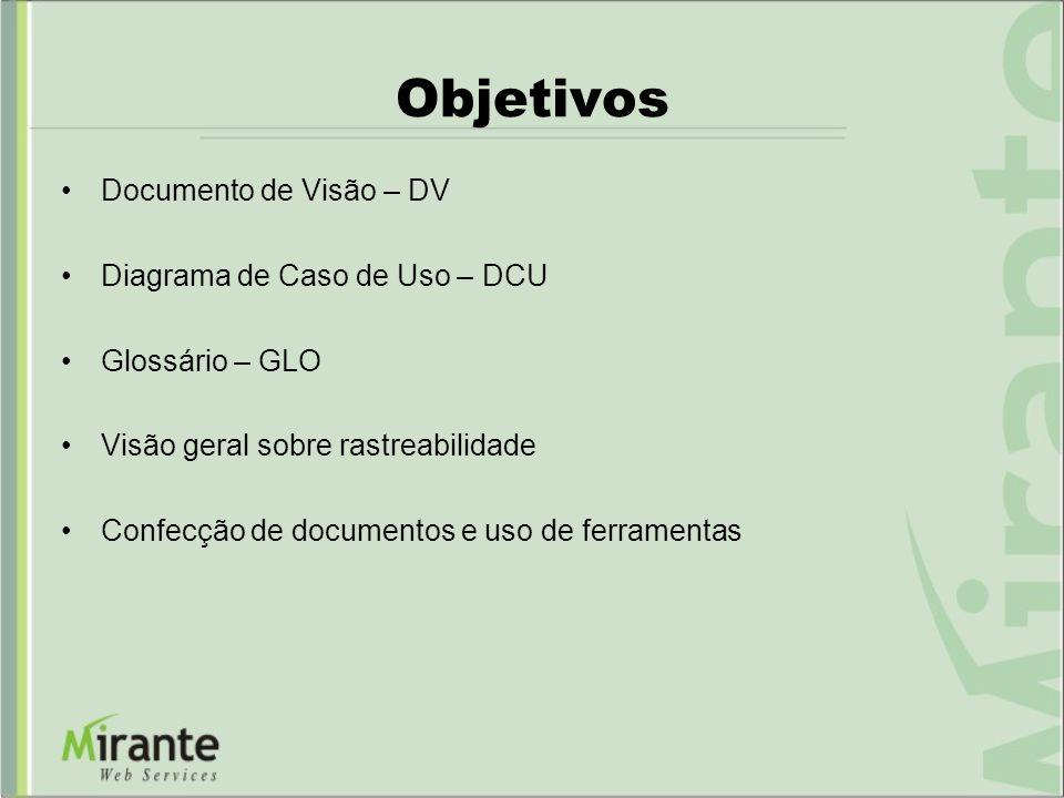 Objetivos Documento de Visão – DV Diagrama de Caso de Uso – DCU