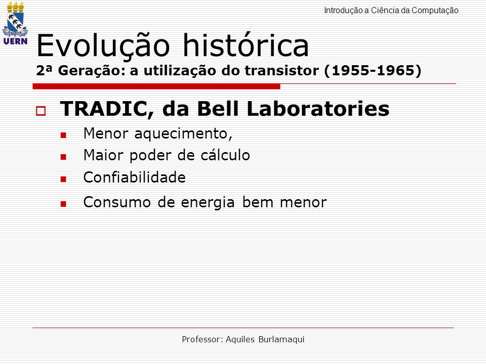 Evolução histórica 2ª Geração: a utilização do transistor (1955-1965)