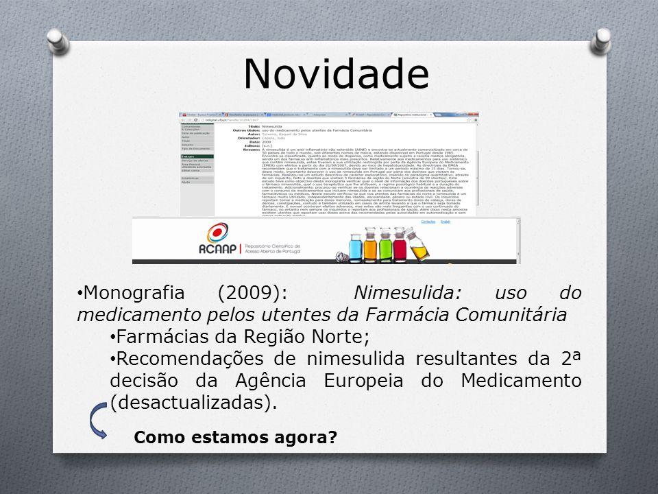 Novidade Monografia (2009): Nimesulida: uso do medicamento pelos utentes da Farmácia Comunitária. Farmácias da Região Norte;