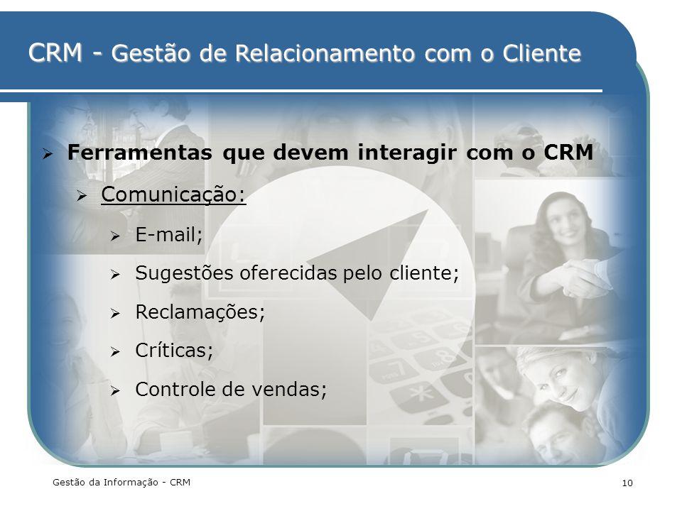 Ferramentas que devem interagir com o CRM Comunicação: