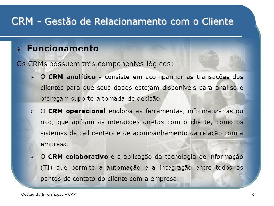 Funcionamento Os CRMs possuem três componentes lógicos: