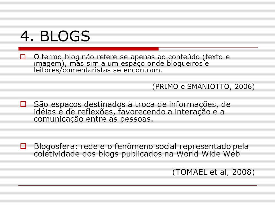 4. BLOGS O termo blog não refere-se apenas ao conteúdo (texto e imagem), mas sim a um espaço onde blogueiros e leitores/comentaristas se encontram.