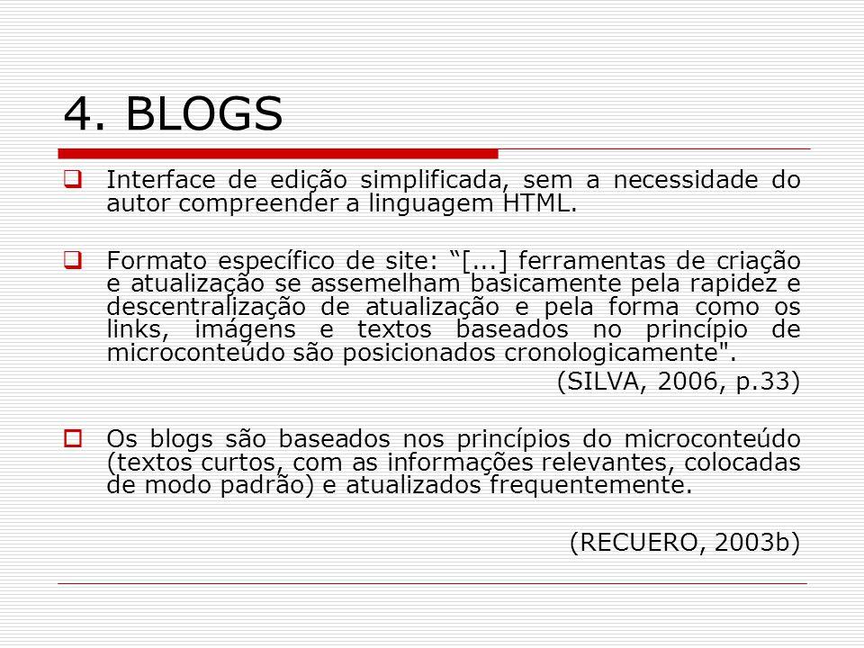 4. BLOGS Interface de edição simplificada, sem a necessidade do autor compreender a linguagem HTML.