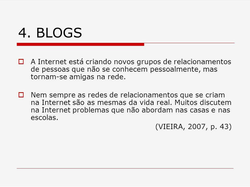 4. BLOGS A Internet está criando novos grupos de relacionamentos de pessoas que não se conhecem pessoalmente, mas tornam-se amigas na rede.