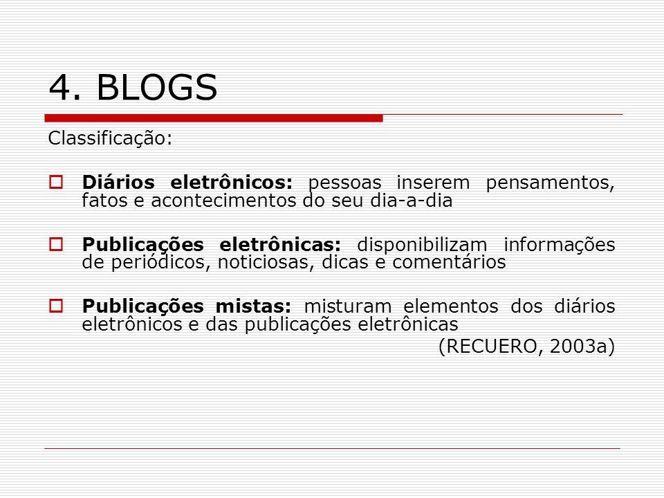 4. BLOGS Classificação: Diários eletrônicos: pessoas inserem pensamentos, fatos e acontecimentos do seu dia-a-dia.