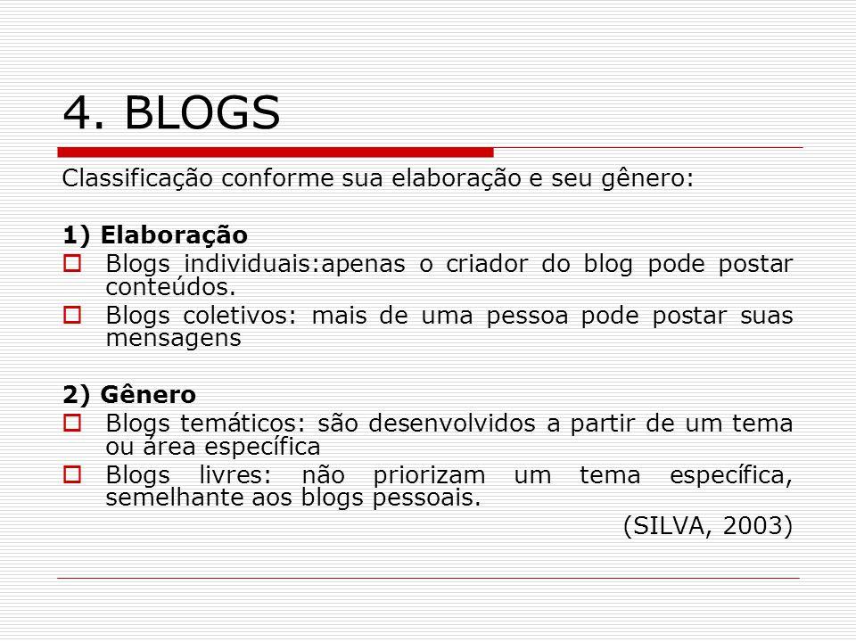 4. BLOGS Classificação conforme sua elaboração e seu gênero: