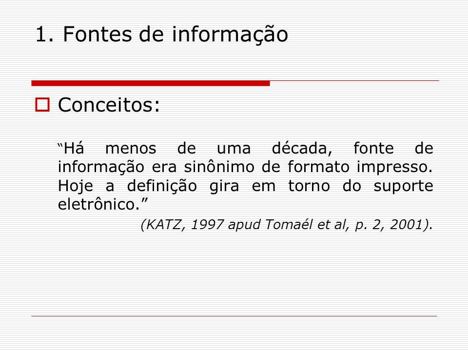 1. Fontes de informação Conceitos: