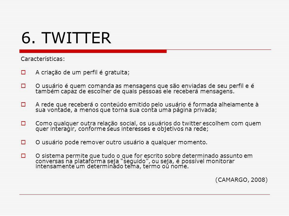 6. TWITTER Características: A criação de um perfil é gratuita;