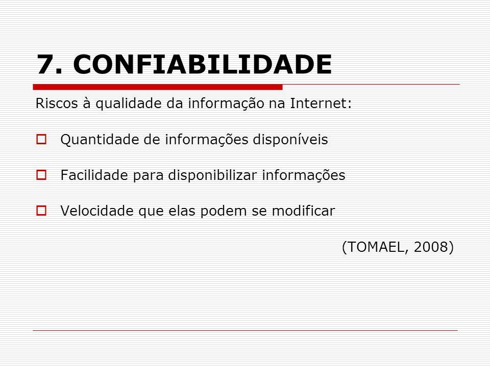 7. CONFIABILIDADE Riscos à qualidade da informação na Internet: