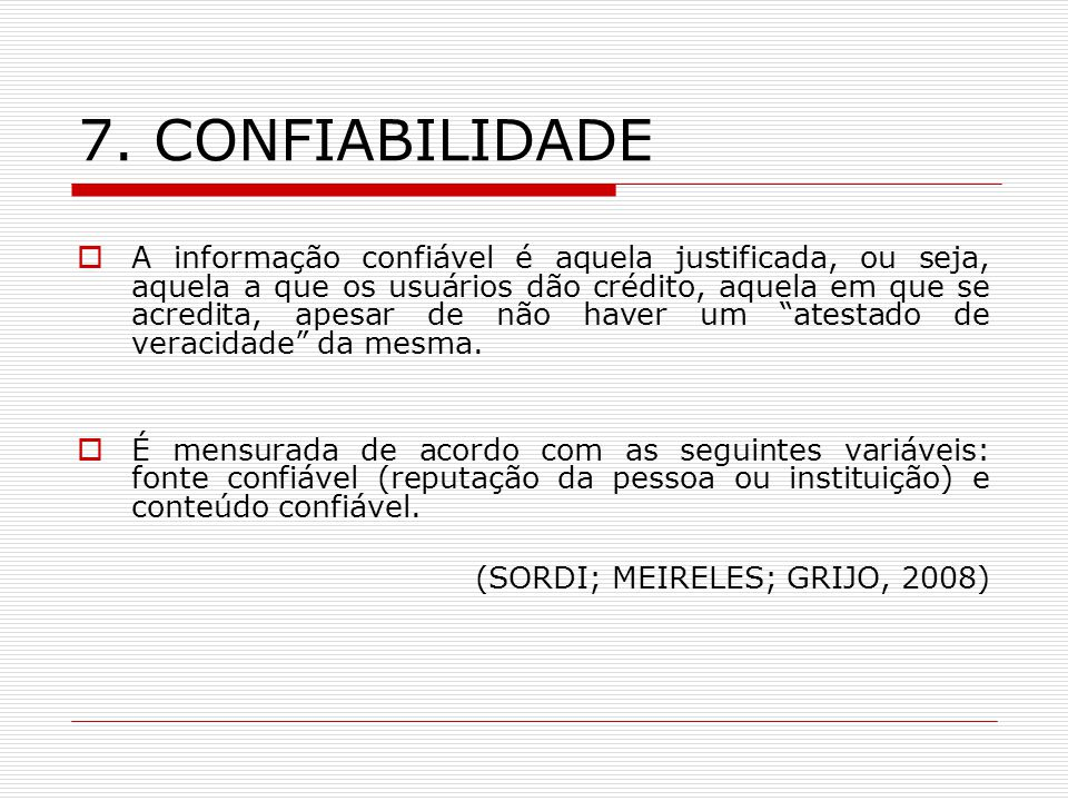 7. CONFIABILIDADE
