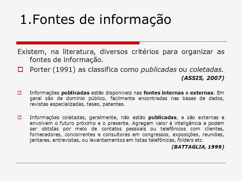 1.Fontes de informação Existem, na literatura, diversos critérios para organizar as fontes de informação.