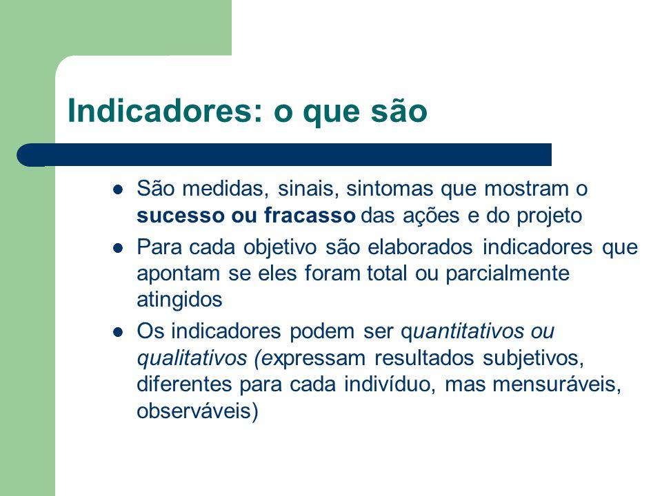 Indicadores: o que são São medidas, sinais, sintomas que mostram o sucesso ou fracasso das ações e do projeto.