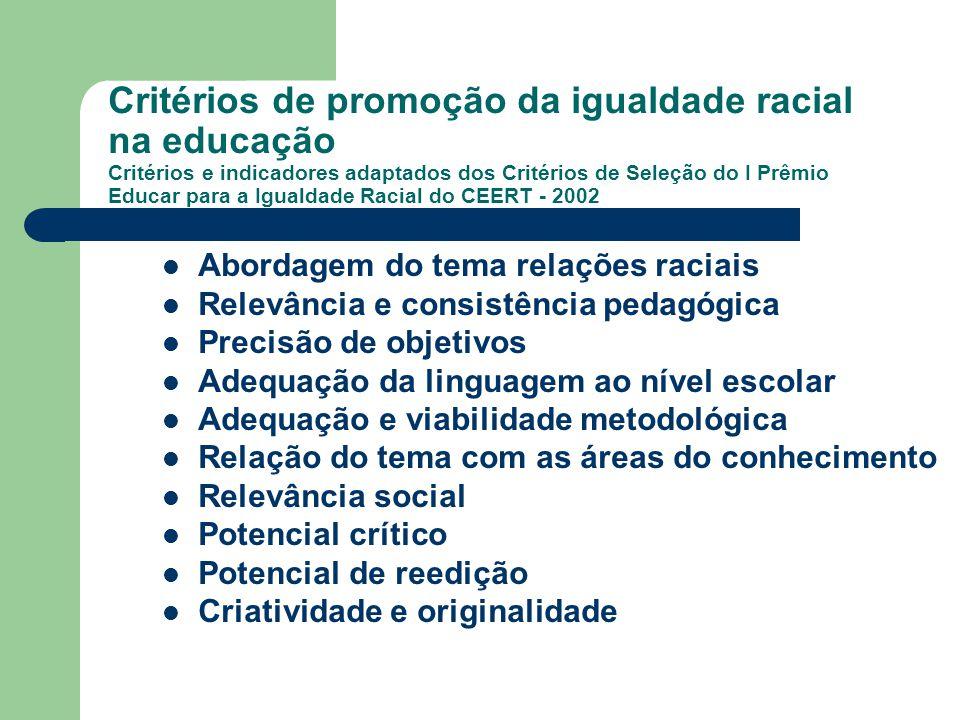 Critérios de promoção da igualdade racial na educação Critérios e indicadores adaptados dos Critérios de Seleção do I Prêmio Educar para a Igualdade Racial do CEERT - 2002