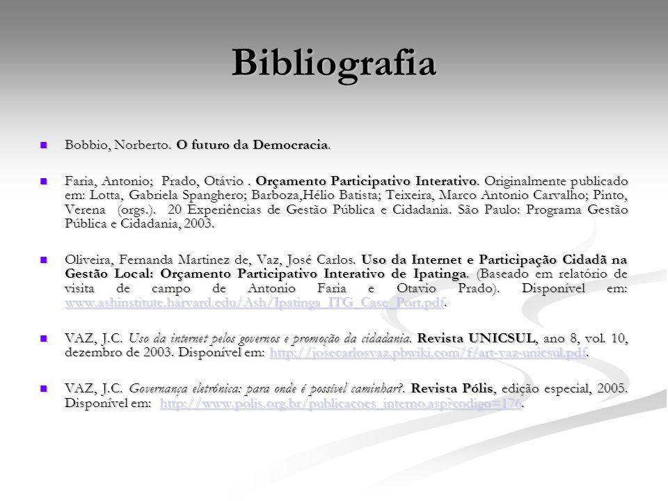 Bibliografia Bobbio, Norberto. O futuro da Democracia.