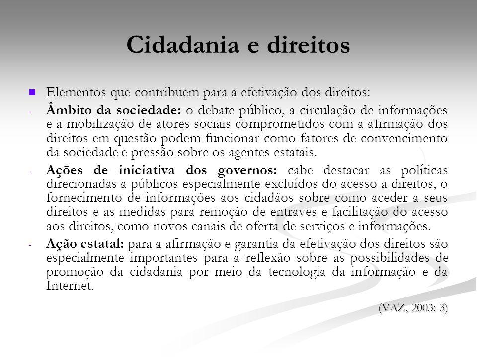 Cidadania e direitos Elementos que contribuem para a efetivação dos direitos: