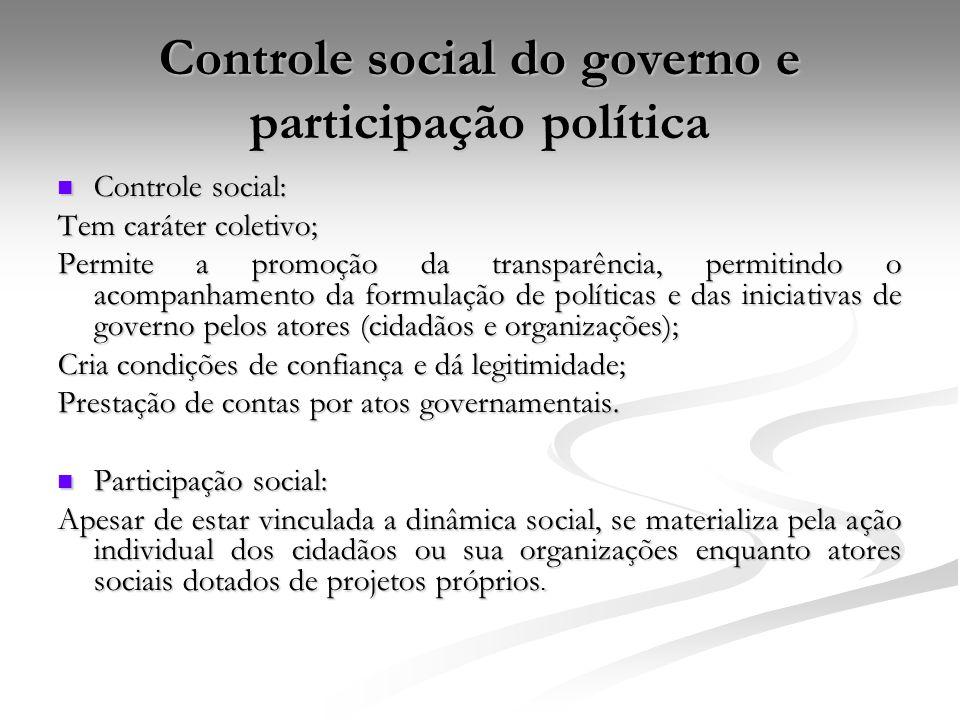 Controle social do governo e participação política