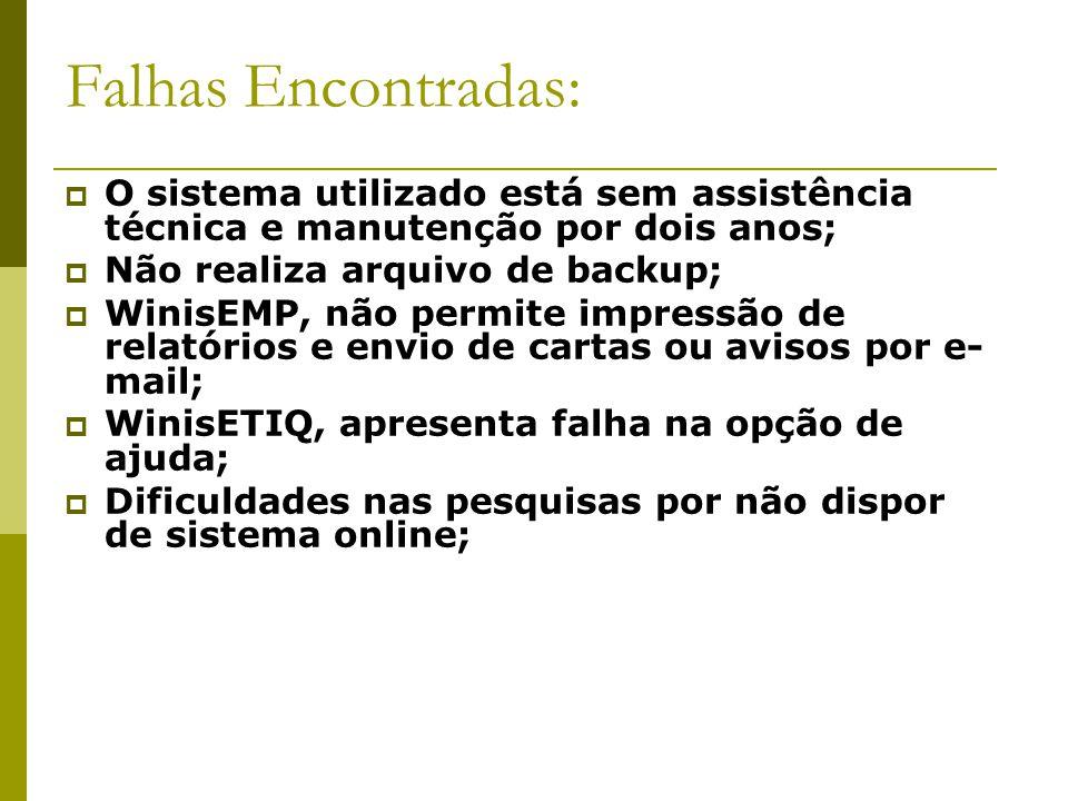 Falhas Encontradas: O sistema utilizado está sem assistência técnica e manutenção por dois anos; Não realiza arquivo de backup;