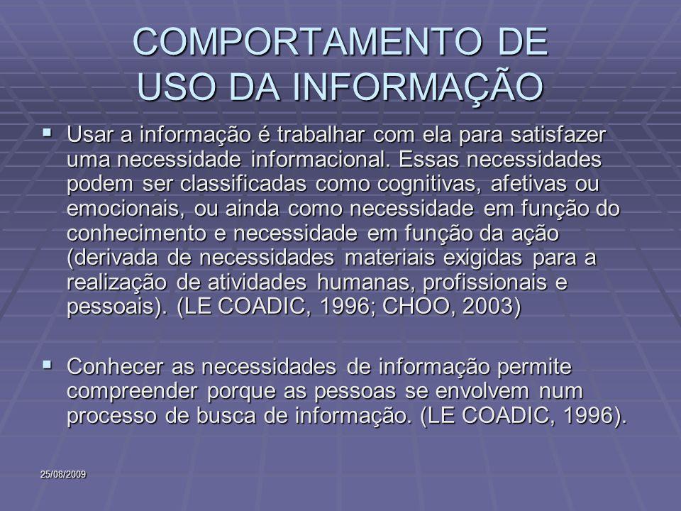COMPORTAMENTO DE USO DA INFORMAÇÃO