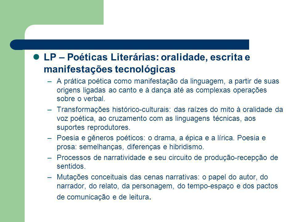 LP – Poéticas Literárias: oralidade, escrita e manifestações tecnológicas
