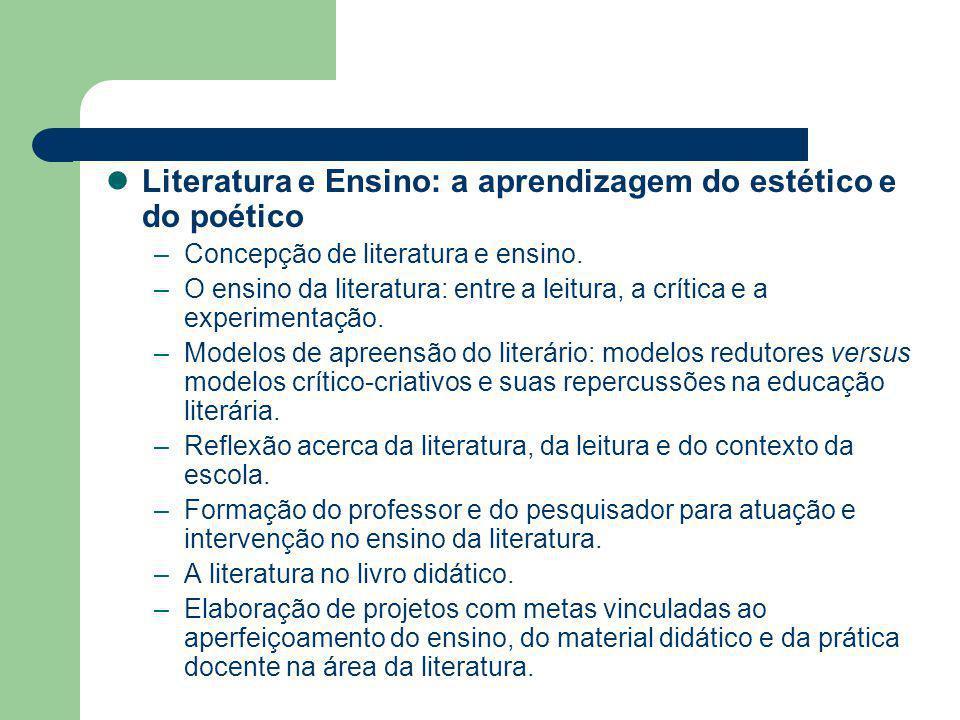 Literatura e Ensino: a aprendizagem do estético e do poético