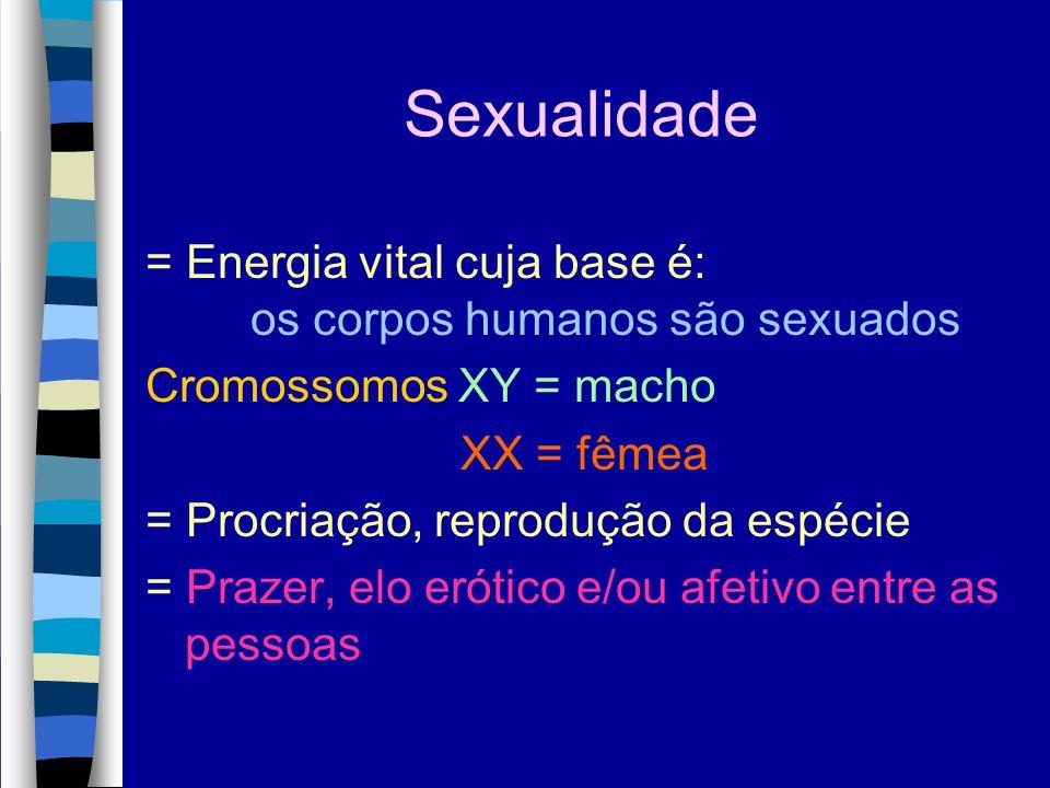 Sexualidade = Energia vital cuja base é: os corpos humanos são sexuados. Cromossomos XY = macho. XX = fêmea.