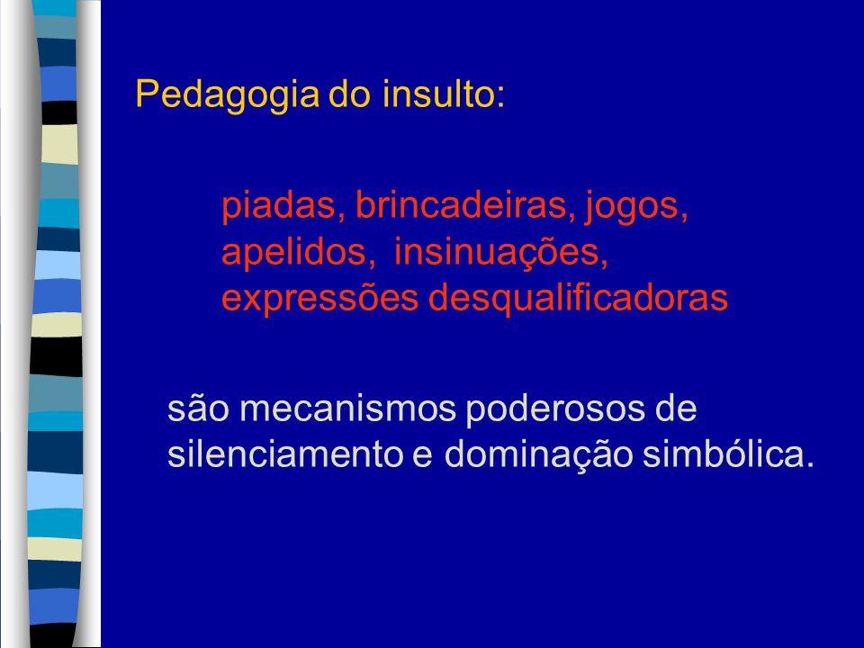 Pedagogia do insulto: piadas, brincadeiras, jogos, apelidos, insinuações, expressões desqualificadoras.