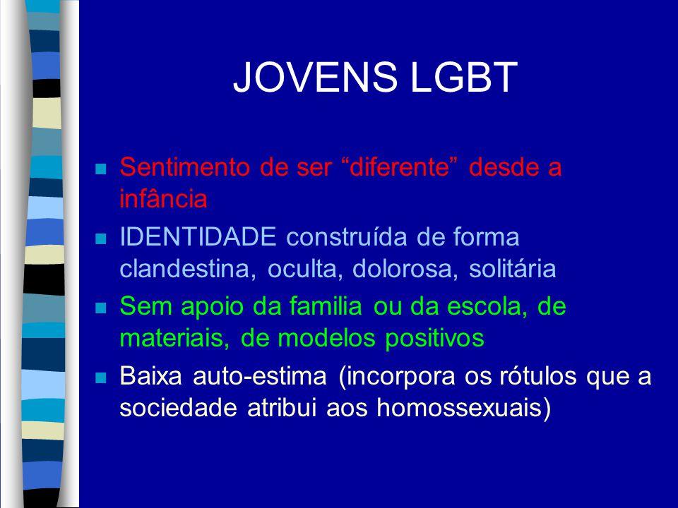 JOVENS LGBT Sentimento de ser diferente desde a infância