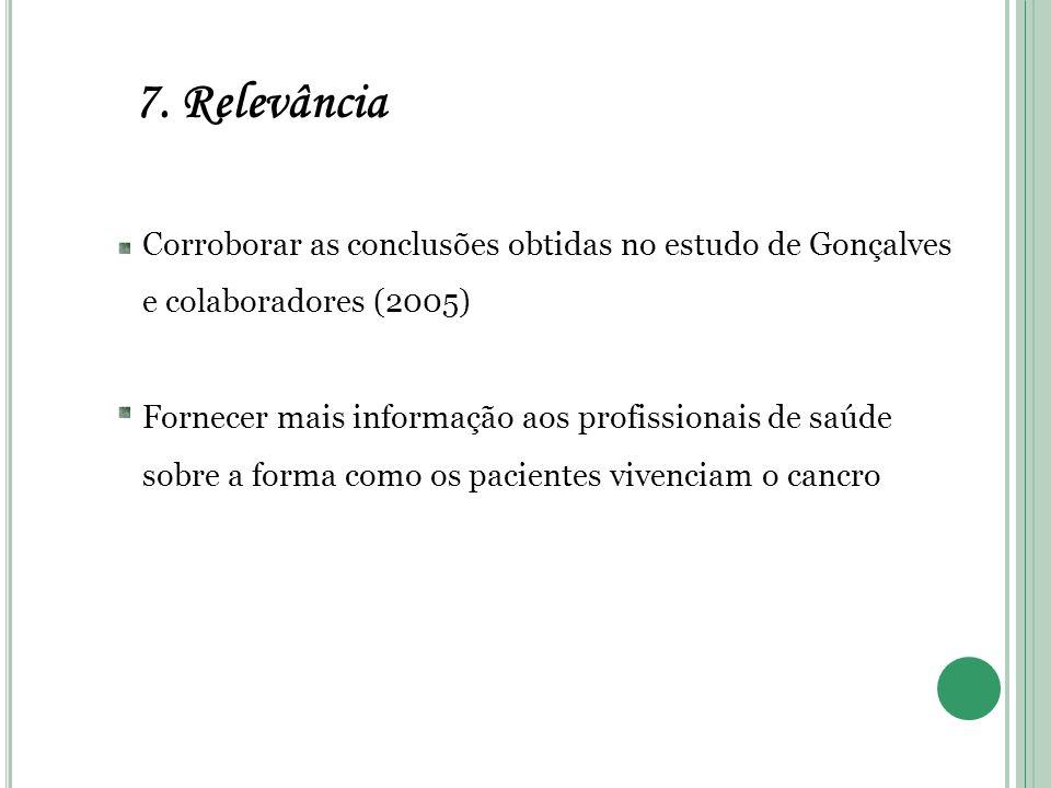 7. Relevância Corroborar as conclusões obtidas no estudo de Gonçalves e colaboradores (2005)
