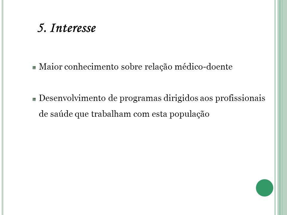 5. Interesse Maior conhecimento sobre relação médico-doente