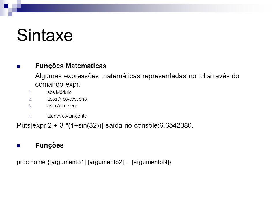Sintaxe Funções Matemáticas