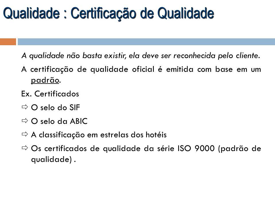 Qualidade : Certificação de Qualidade