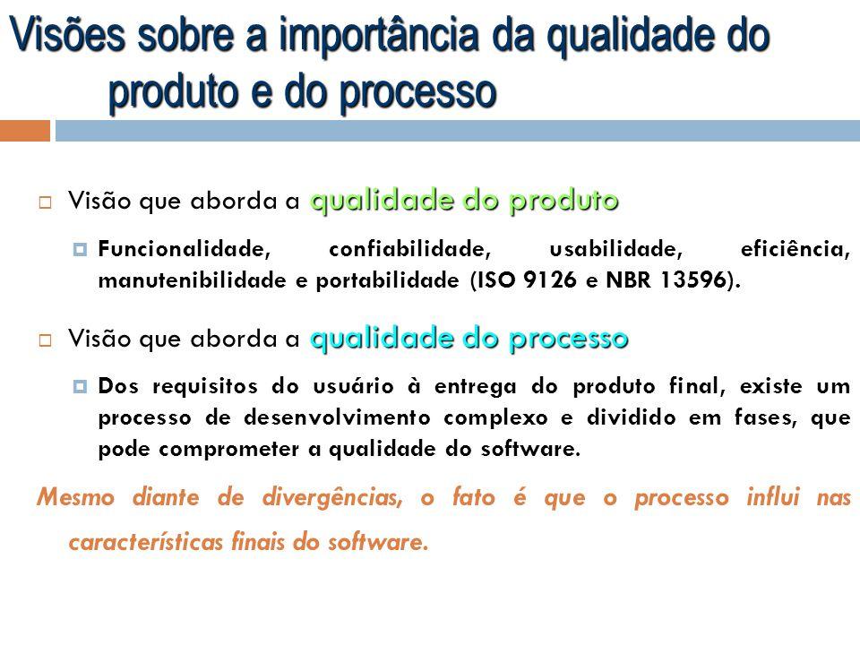 Visões sobre a importância da qualidade do produto e do processo