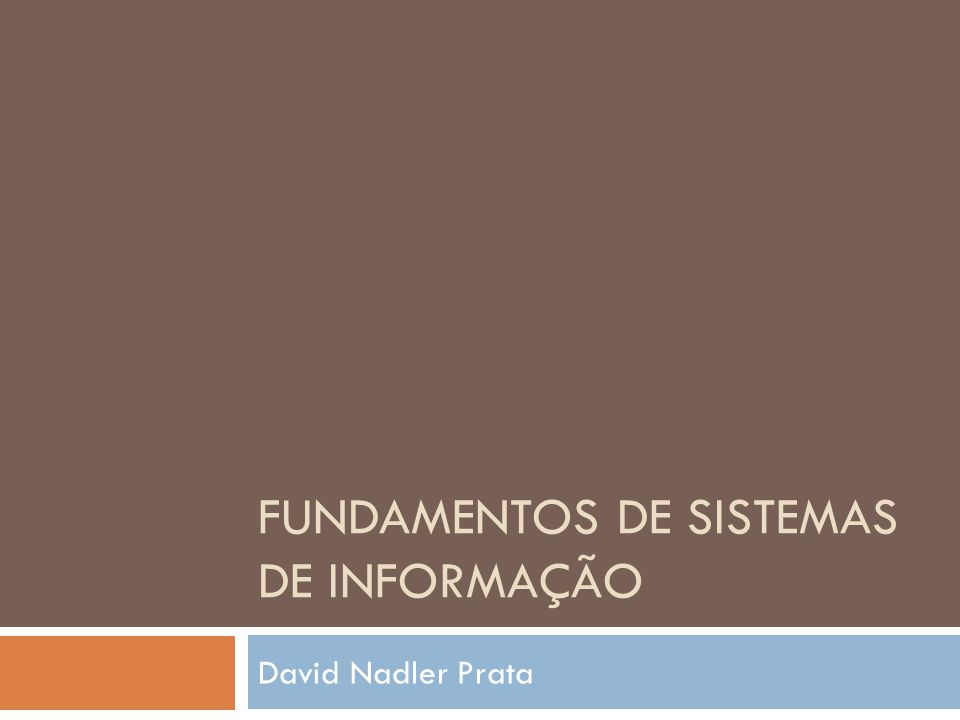 Fundamentos de Sistemas de Informação