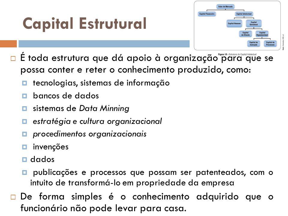 Capital Estrutural É toda estrutura que dá apoio à organização para que se possa conter e reter o conhecimento produzido, como: