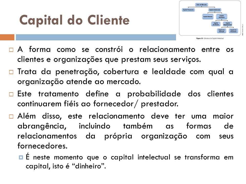 Capital do Cliente A forma como se constrói o relacionamento entre os clientes e organizações que prestam seus serviços.