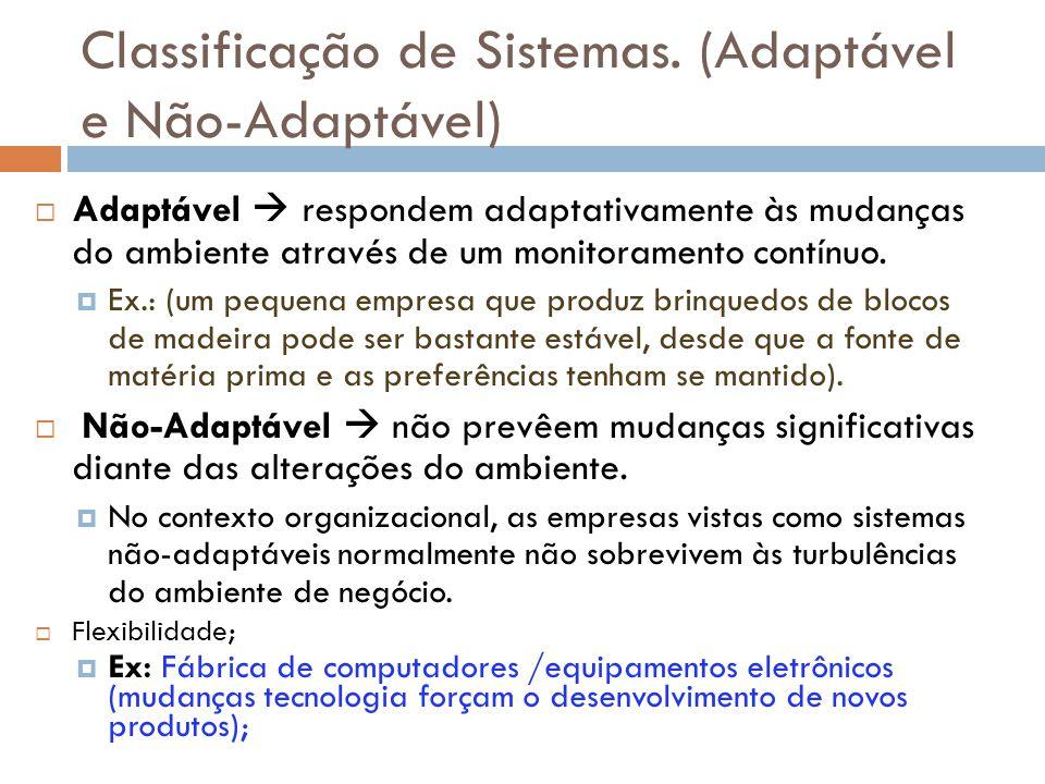Classificação de Sistemas. (Adaptável e Não-Adaptável)