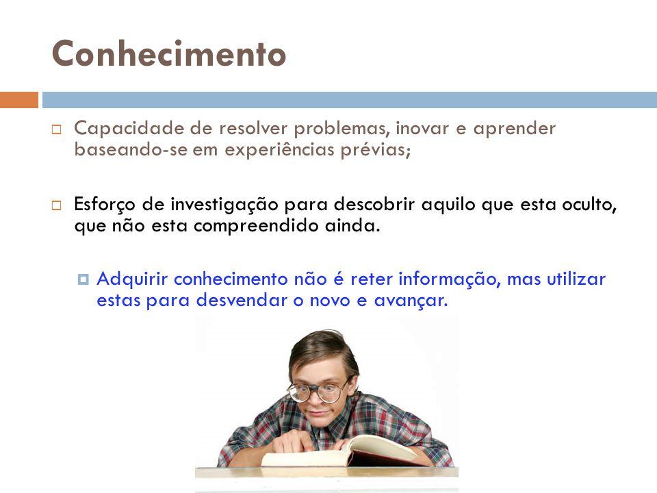 Conhecimento Capacidade de resolver problemas, inovar e aprender baseando-se em experiências prévias;